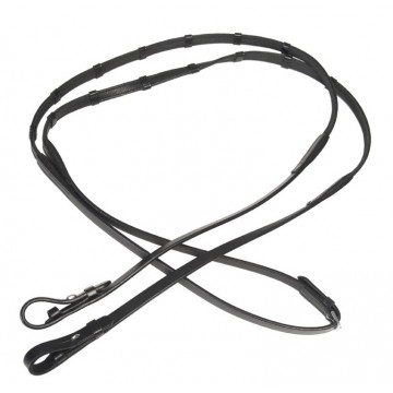 Horse comfort leather/rubber reins with stopper